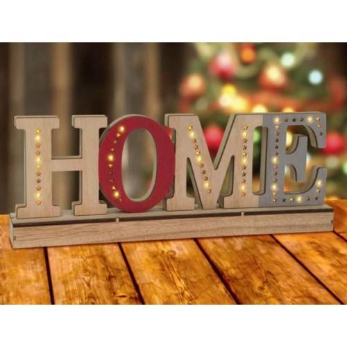 """LED Дървен надпис """"HOME"""""""