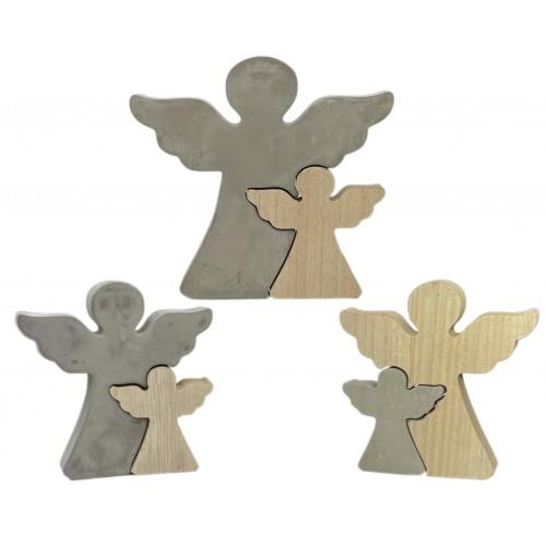 2бр. Декоративни ангели от дърво и бетон DEKOR