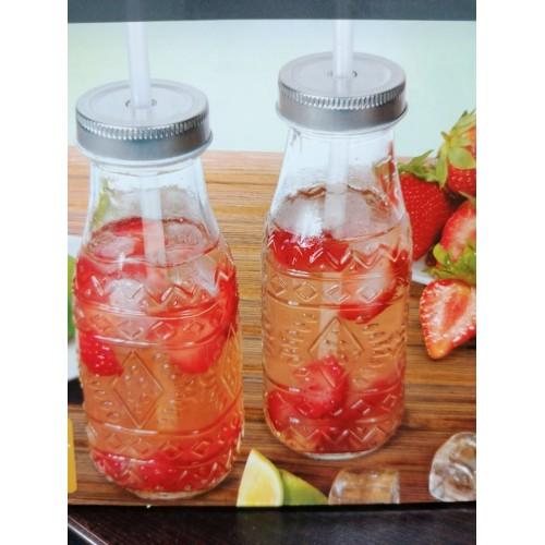 2бр. Стъклени бутилки със сламки DEKOR