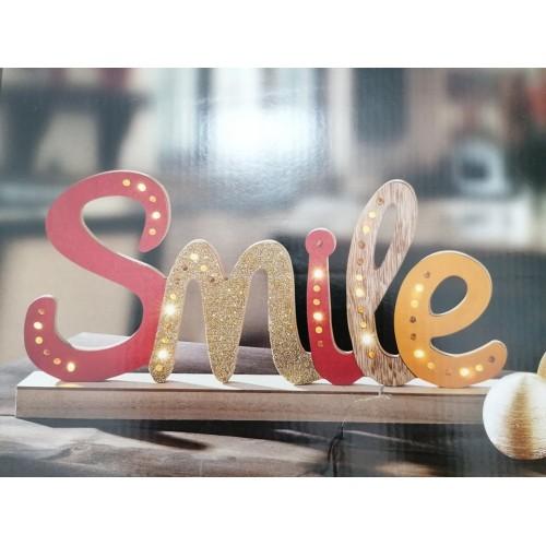 """LED Дървен надпис """"Smile"""""""