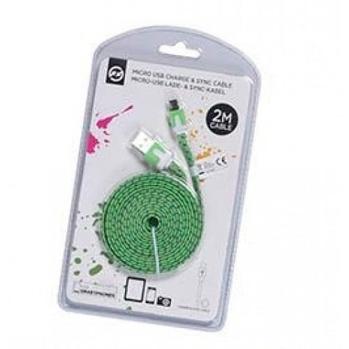 КАБЕЛ USB Micro USB 20x0,6x0,2cm Зелен